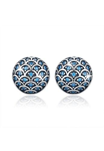 925 Signature 銀色 925 SIGNATURE Blue Mermaid Scale Earrings AAA8DAC6BF0651GS_1