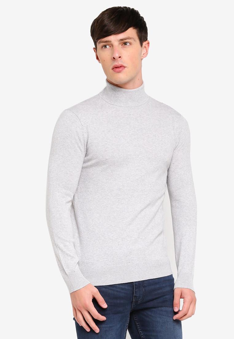 Grey Jumper Roll Menswear Marl London Fine Gauge Grey Burton Neck w4CTzfPq