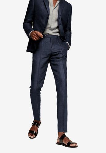 Mango Man blue Slim Fit Linen Suit Trousers 8F64DAAF72B7BFGS_1