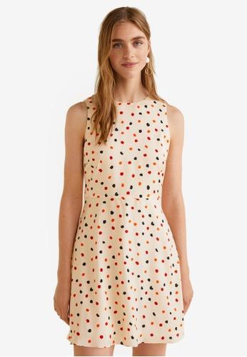 Mango white Flowy Printed Dress 0B90BAABF66355GS_1