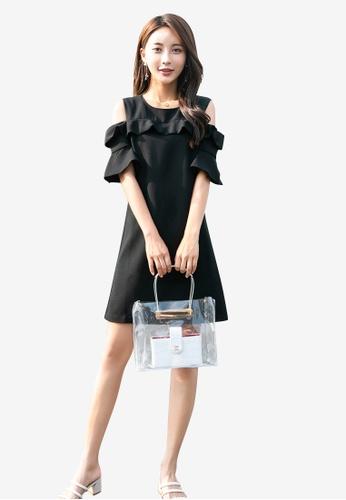 hk-ehunter black Off Shoulder Ruffled Solid Coloured A-Line Dress 5A8E8AAC86BB0AGS_1