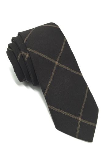 Splice Cufflinks Daffy Series Black Checked Skinny Viscose Tie SP744AC07QLOSG_1