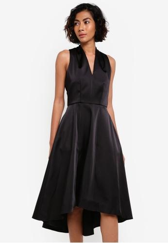 CLOSET black V-Neck Flared Dress CL919AA0RSURMY_1