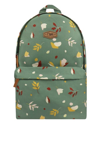 Ripples green Abstract Leaves Digital Print Backpack 26700ACC1E9D79GS_1