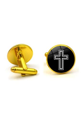 Kings Collection gold Gold Edge Cross Cufflinks (KC10162) B7F52AC0619F46GS_1