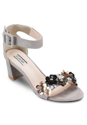esprit outlet花飾繞踝粗跟鞋, 女鞋, 細帶高跟鞋