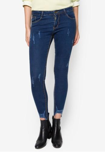 刷破窄管牛仔褲, 服飾, 緊身牛仔zalora 衣服評價褲