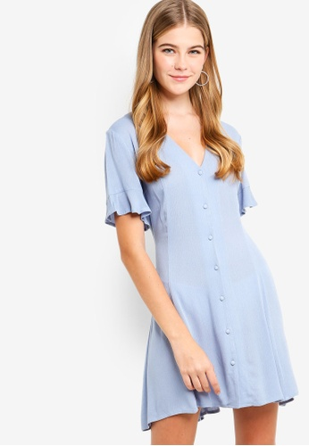 Something Borrowed blue Button Down Fit And Flare Dress 49E1DAAB1C6DFEGS_1