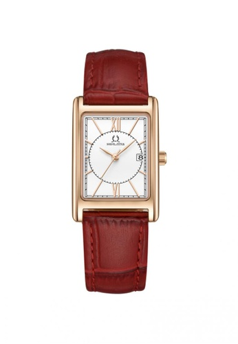 Solvil et Titus red Classicist Women's 3 Hands Date Quartz Watch in Silver White Dial and Red Leather Strap 19ECBAC266F1C5GS_1