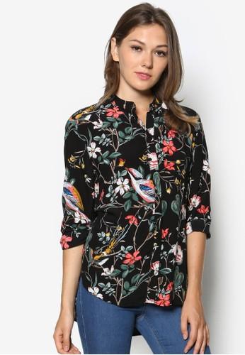 花與鳥zalora 衣服評價印花長袖上衣, 服飾, 上衣