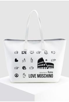 be3cdc2f520c Love Moschino white Graphic Tote Bag 880C3AC3202647GS 1