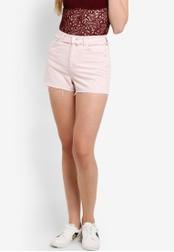 TOPSHOP pink MOTO Pink Raw Waist Denim Shorts TO412AA38GEFMY_1