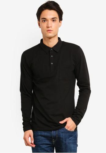 ESPRIT 黑色 長袖POLO衫 442AAAA67ABA3EGS_1