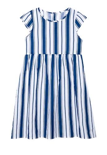 Spring Fling white Extended Sleeves Stripe Dress A6587KA93FBFAEGS_1