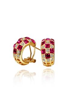 Treasure by B&D E489 Plated Eternity Earrings Geometry Pattern Swarovski Crystal Inlayed Hoop Earrings
