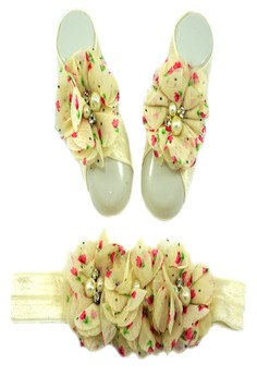 Baby Headband and Barefoot Sandals (Floral Printed) Ivory Set 0mons+