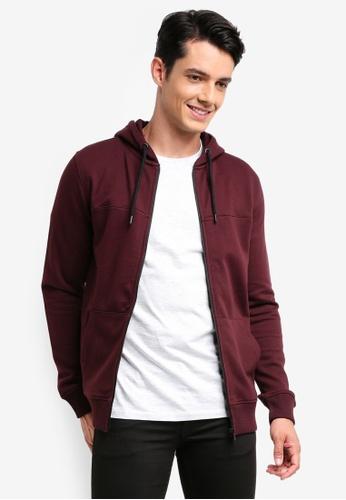 Burton Menswear London red Burgundy Zip-Through Hoodie ABD63AAE8E9D1DGS_1