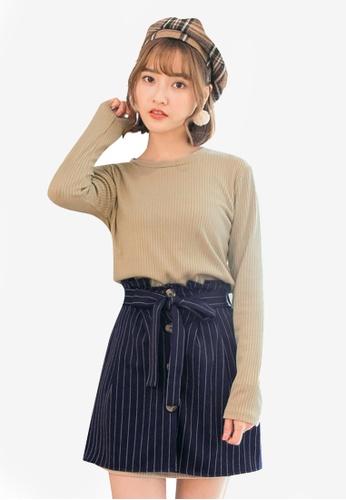 Tokichoi navy Knit Sweater & Striped Skirt Set E9162AAED0BDA8GS_1