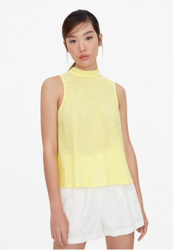 Pomelo yellow Purpose Halter Eyelet Blouse - Yellow 26005AABCDD33AGS_1