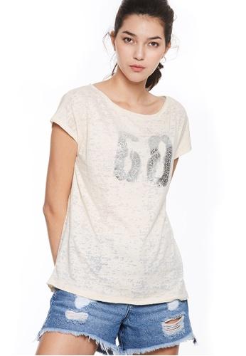 Sisley beige Printed T-shirt 1C6A7AAD447446GS_1