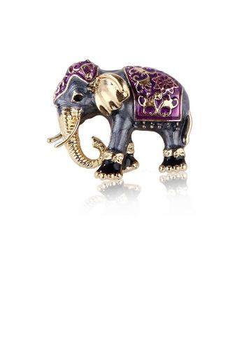 Glamorousky black Fashion Creative Exotic Purple Elephant Brooch with Cubic Zirconia 4E61DAC2FB108CGS_1
