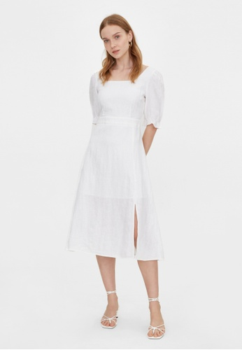 Pomelo white Purpose Midi Side Slit Dress - White F77EBAA8CD422FGS_1