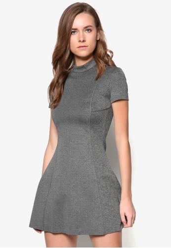 高領短袖連身裙, zalora 順豐服飾, 短洋裝