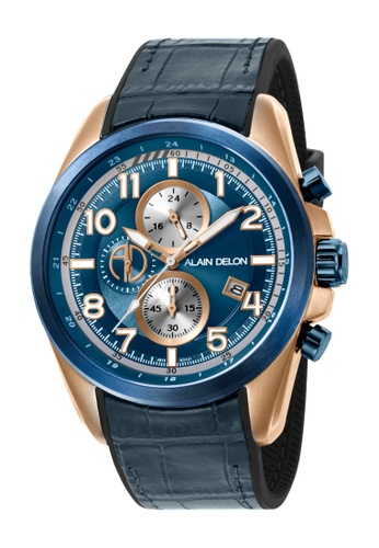 Alain Delon blue Alain Delon Men AD421-1585C Brown Silicone Leather Watch 2BFEDAC0901123GS_1