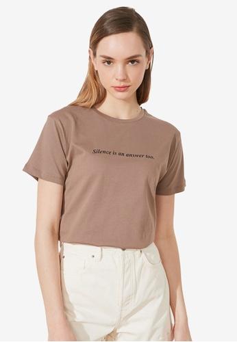 Trendyol beige Graphic T-Shirt 8C16BAAC1DFF1AGS_1