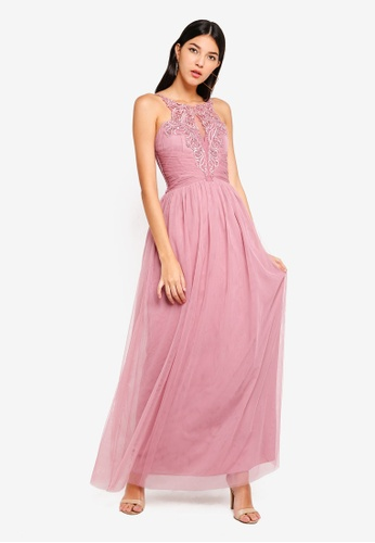 Little Mistress pink Mesh Maxi Dress D1506AA16F2BF0GS_1