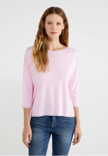 United Colors of Benetton pink Silk Blend Flowy Sweater B6313AA5FCB623GS_1