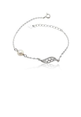 Glamorousky 白色 925純銀時尚簡約鏤空葉子白色淡水珍珠手鏈配鋯石 D25AFAC3E7AB25GS_1