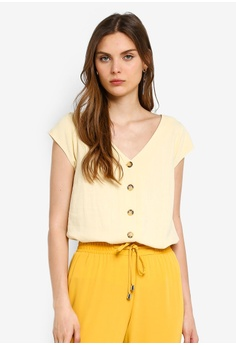 ff6805092dfac3 Dorothy Perkins yellow Lemon Linen Button Top 6BB4FAA8C14AA3GS_1