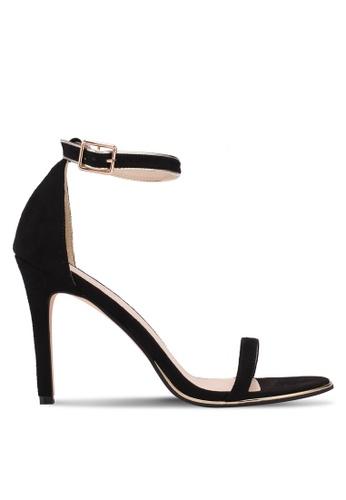 ZALORA 黑色 一字帶麂皮高跟鞋 2DD47SH1F97AC5GS_1