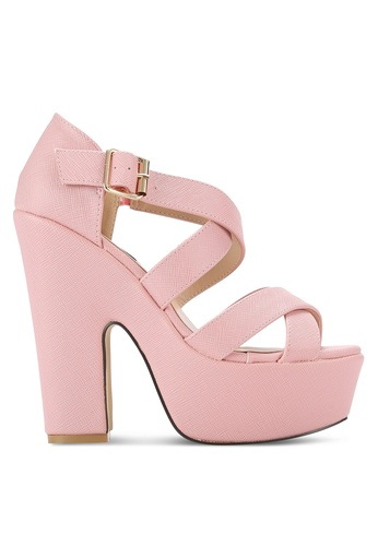 Nose pink Strappy Platform Heels NO327SH0RC97MY_1