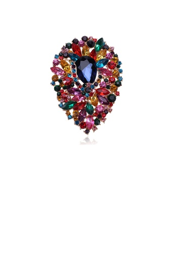 Glamorousky silver Fashion and Elegant Plated Gold Water Drop-shaped Pattern Brooch with Colorful Cubic Zirconia 98AA1AC626E52EGS_1