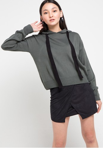 Noir Sur Blanc grey Ladies Poncho Hoodies 810E8AA07C63CAGS_1