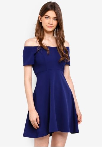 Something Borrowed navy Off Shoulder Fit And Flare Dress 68D33AA5D39212GS_1