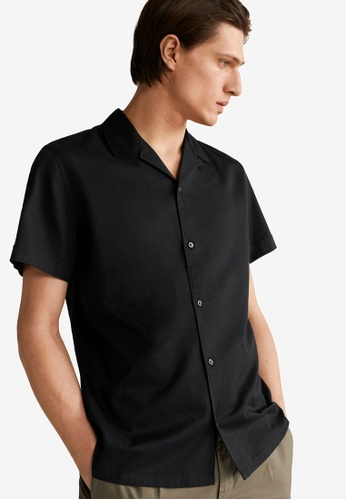 Mango Man black Regular Fit Lyocell Cotton Shirt F3C44AA5569D2CGS_1