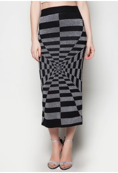 Maxi Knitted Skirt Rectangle Printed Design
