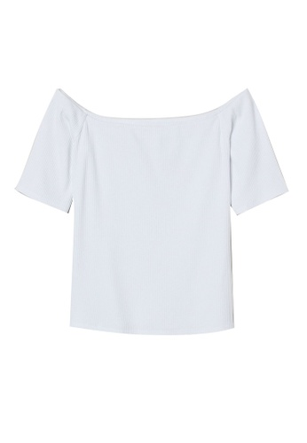 H&M white Ribbed Off-The-Shoulder Top FDEDDAAF7E283CGS_1