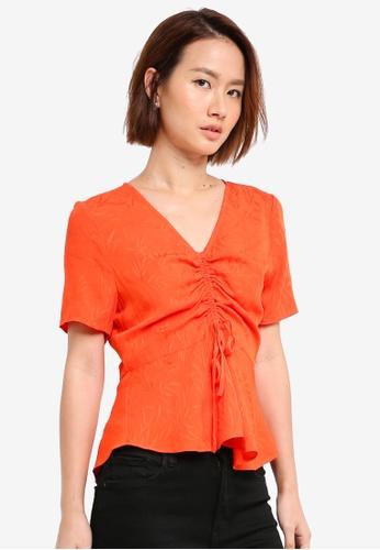 WAREHOUSE orange Fern Jacquard Top 9735CAAF6E98A8GS_1