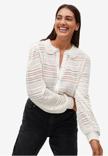 Violeta by MANGO white Plus Size Baby-Collar Openwork Shirt 0B911AAA525F55GS_1