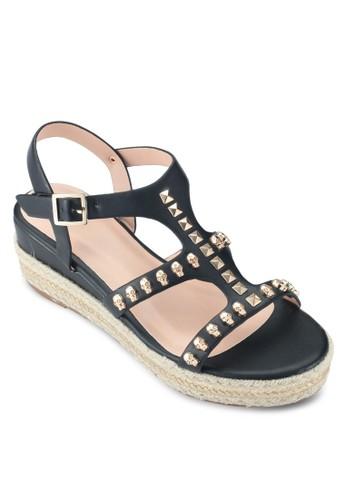 鉚釘麻編楔形涼鞋, esprit 童裝女鞋, 楔形涼鞋