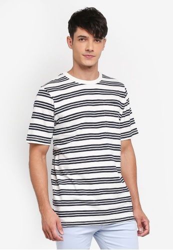 French Connection grey Garment Dye Triple Stripe Tee 4699FAAD433C80GS_1