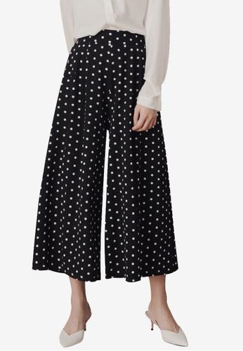 Kodz black Side Pockets Polka Dot Culotte Pants 48DAEAAE399D57GS_1
