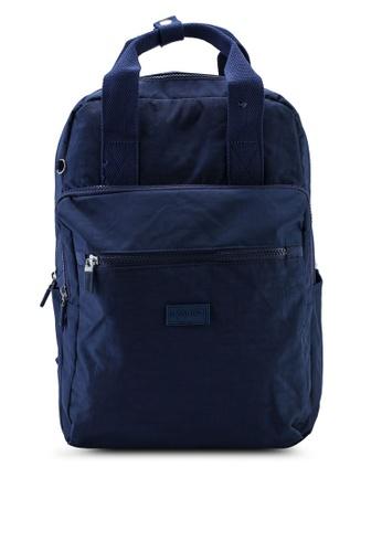 Bagstationz navy Crinkled Nylon Backpack 914B2ACF5AB166GS_1