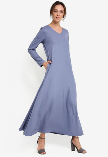 Tsyahmi for ZALORA blue Basic Maxi Dress TS528AA20ZBJMY_1
