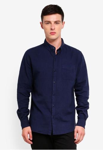 Cotton On 海軍藍色 Premium Linen Cotton Long Sleeve Shirt 80C41AA4BF5F40GS_1