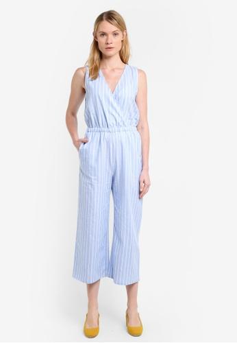 Mango blue Cropped Striped Jumpsuit MA193AA0ROP5MY_1